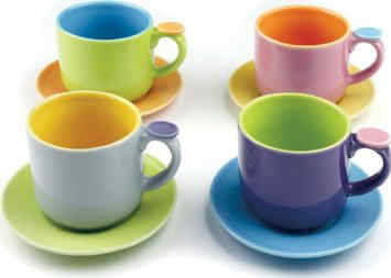Multicolor Demitasse Cups and Saucers